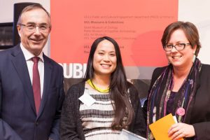 Jessica Sims with UCL Provost Prof. Micheal Arthur and Lori Houlihan (Executive Director for Development and Alumni Relations